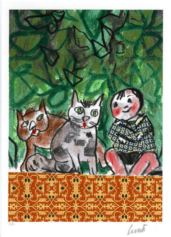 Lele Luzzati Gatti serigrafia