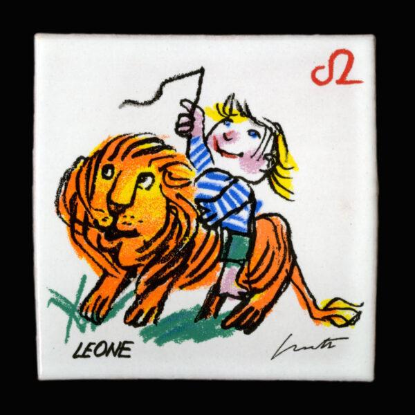 Emanuele_Luzzati_piastrella_segni_zodiacali_leone