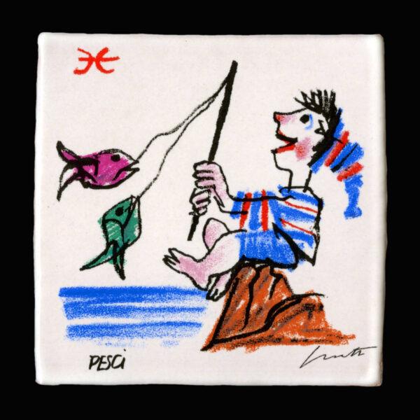 Emanuele_Luzzati_piastrella_segni_zodiacali_pesci