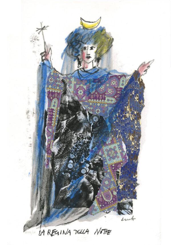 Luzzati Emanuele, la regina della Notte, serigrafia