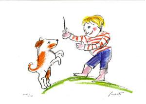 Luzzati serigrafia, bambino e cane