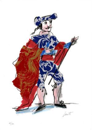 Luzzati Emanuele, serigrafia, torero